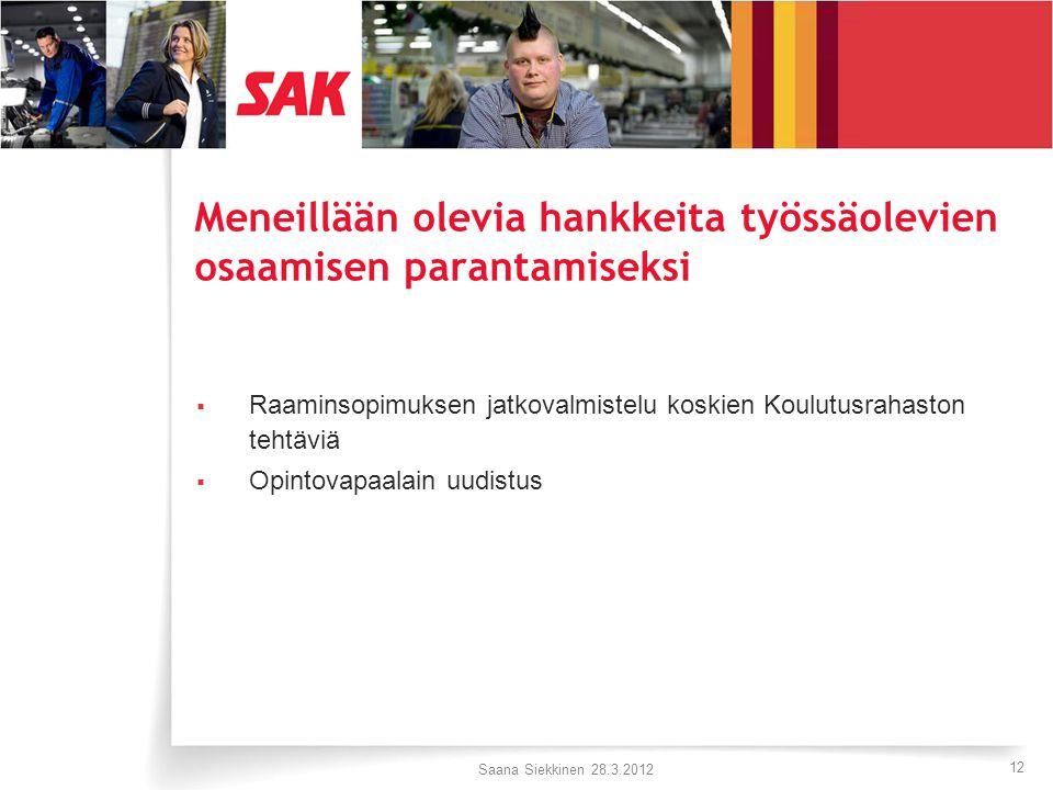 12 Meneillään olevia hankkeita työssäolevien osaamisen parantamiseksi  Raaminsopimuksen jatkovalmistelu koskien Koulutusrahaston tehtäviä  Opintovapaalain uudistus Saana Siekkinen 28.3.2012