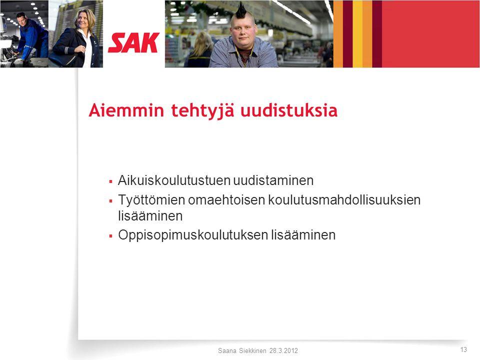 13 Aiemmin tehtyjä uudistuksia  Aikuiskoulutustuen uudistaminen  Työttömien omaehtoisen koulutusmahdollisuuksien lisääminen  Oppisopimuskoulutuksen lisääminen Saana Siekkinen 28.3.2012