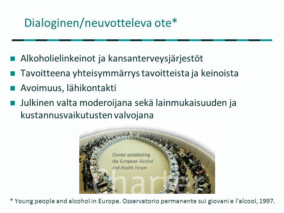 Dialoginen/neuvotteleva ote*  Alkoholielinkeinot ja kansanterveysjärjestöt  Tavoitteena yhteisymmärrys tavoitteista ja keinoista  Avoimuus, lähikontakti  Julkinen valta moderoijana sekä lainmukaisuuden ja kustannusvaikutusten valvojana * Young people and alcohol in Europe.