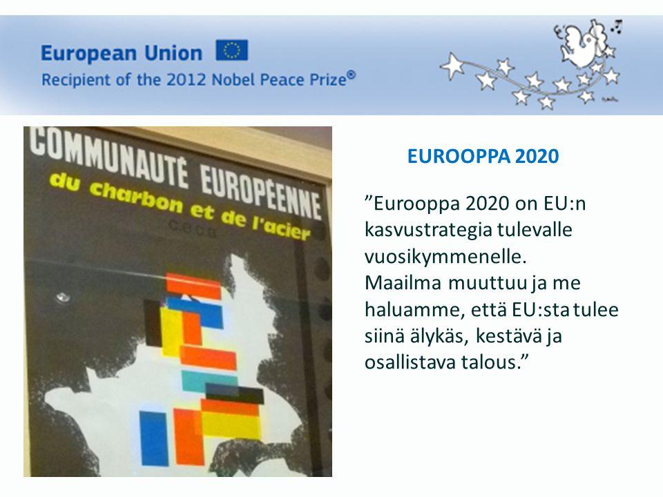 EUROOPPA 2020 Eurooppa 2020 on EU:n kasvustrategia tulevalle vuosikymmenelle.