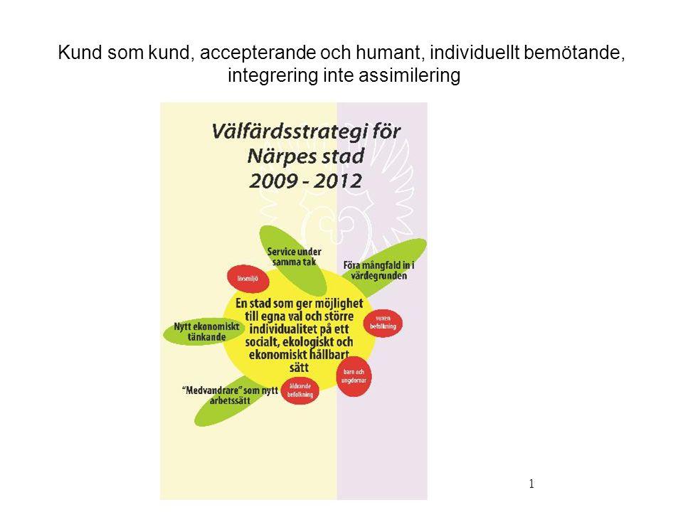 Kund som kund, accepterande och humant, individuellt bemötande, integrering inte assimilering