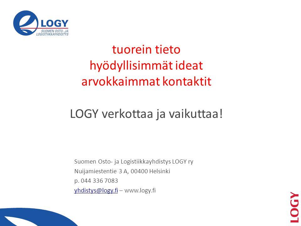 Suomen Osto- ja Logistiikkayhdistys LOGY ry Nuijamiestentie 3 A, 00400 Helsinki p.