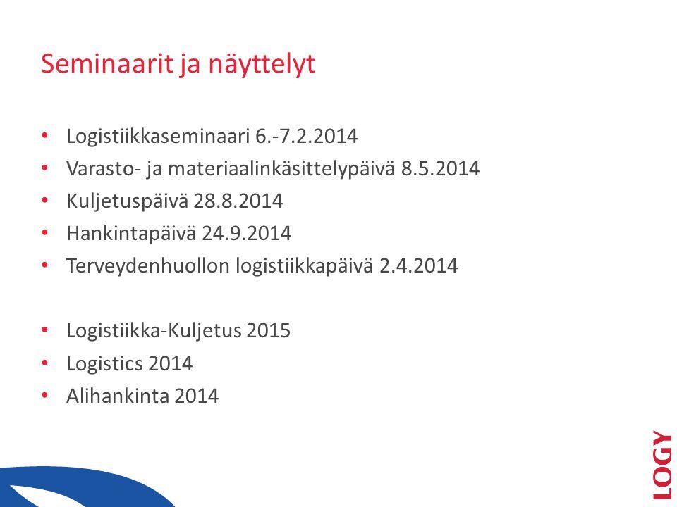 Seminaarit ja näyttelyt • Logistiikkaseminaari 6.-7.2.2014 • Varasto- ja materiaalinkäsittelypäivä 8.5.2014 • Kuljetuspäivä 28.8.2014 • Hankintapäivä 24.9.2014 • Terveydenhuollon logistiikkapäivä 2.4.2014 • Logistiikka-Kuljetus 2015 • Logistics 2014 • Alihankinta 2014