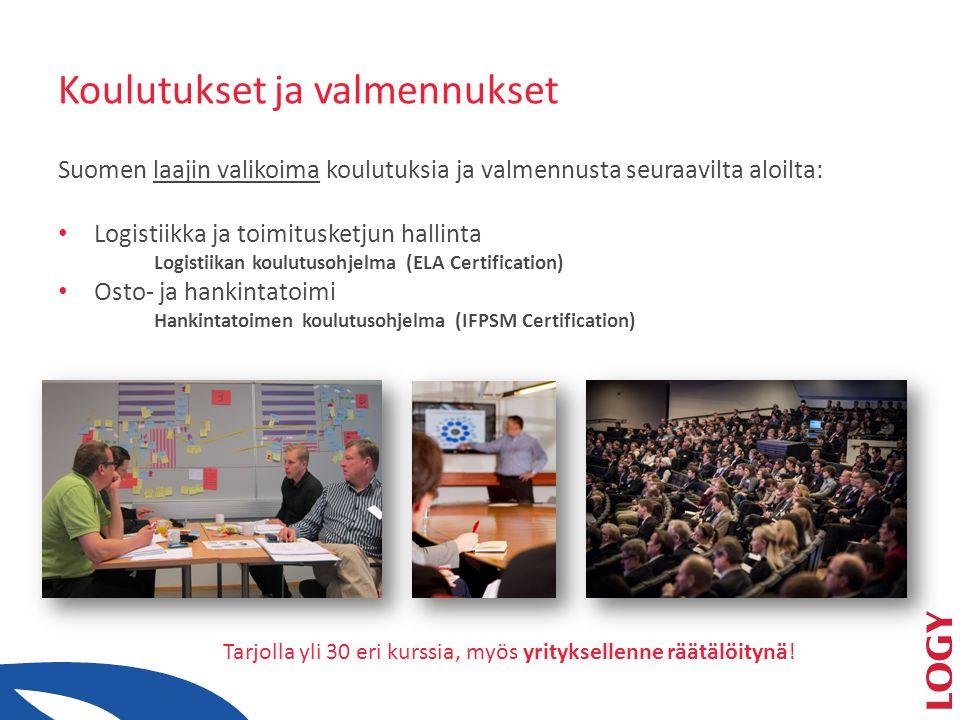 Koulutukset ja valmennukset Suomen laajin valikoima koulutuksia ja valmennusta seuraavilta aloilta: • Logistiikka ja toimitusketjun hallinta Logistiikan koulutusohjelma (ELA Certification) • Osto- ja hankintatoimi Hankintatoimen koulutusohjelma (IFPSM Certification) Tarjolla yli 30 eri kurssia, myös yrityksellenne räätälöitynä!