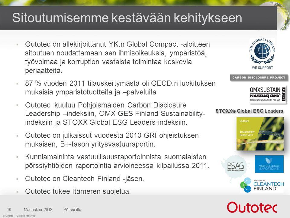 © Outotec - All rights reserved  Outotec on allekirjoittanut YK:n Global Compact -aloitteen sitoutuen noudattamaan sen ihmisoikeuksia, ympäristöä, työvoimaa ja korruption vastaista toimintaa koskevia periaatteita.