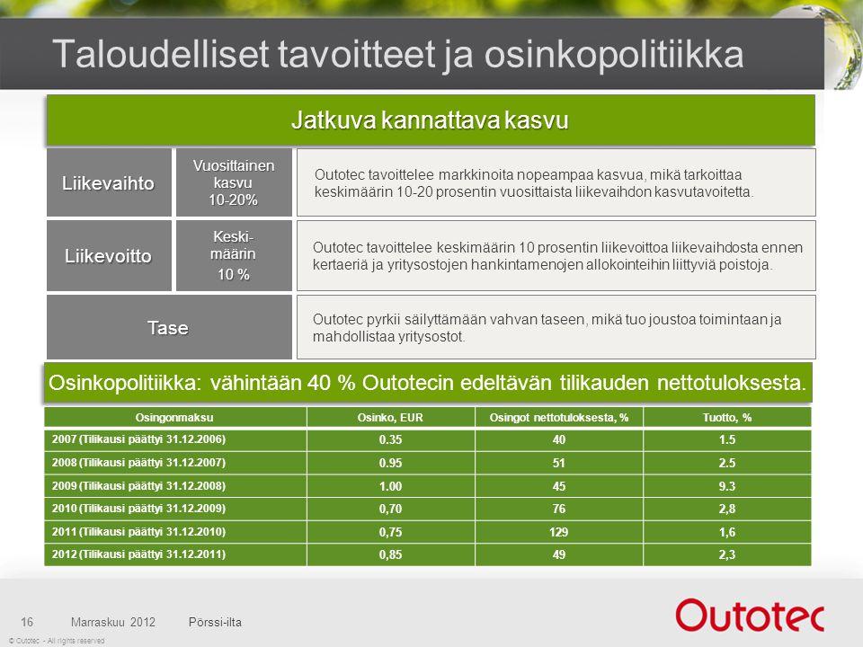 © Outotec - All rights reserved Taloudelliset tavoitteet ja osinkopolitiikka Marraskuu 2012Pörssi-ilta16 Osinkopolitiikka: vähintään 40 % Outotecin edeltävän tilikauden nettotuloksesta.