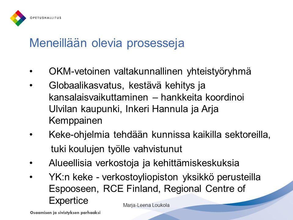 Meneillään olevia prosesseja •OKM-vetoinen valtakunnallinen yhteistyöryhmä •Globaalikasvatus, kestävä kehitys ja kansalaisvaikuttaminen – hankkeita koordinoi Ulvilan kaupunki, Inkeri Hannula ja Arja Kemppainen •Keke-ohjelmia tehdään kunnissa kaikilla sektoreilla, tuki koulujen työlle vahvistunut •Alueellisia verkostoja ja kehittämiskeskuksia •YK:n keke - verkostoyliopiston yksikkö perusteilla Espooseen, RCE Finland, Regional Centre of Expertice Marja-Leena Loukola