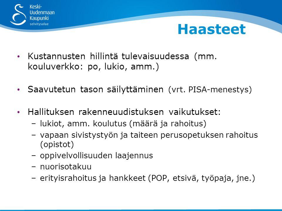 Haasteet • Kustannusten hillintä tulevaisuudessa (mm.