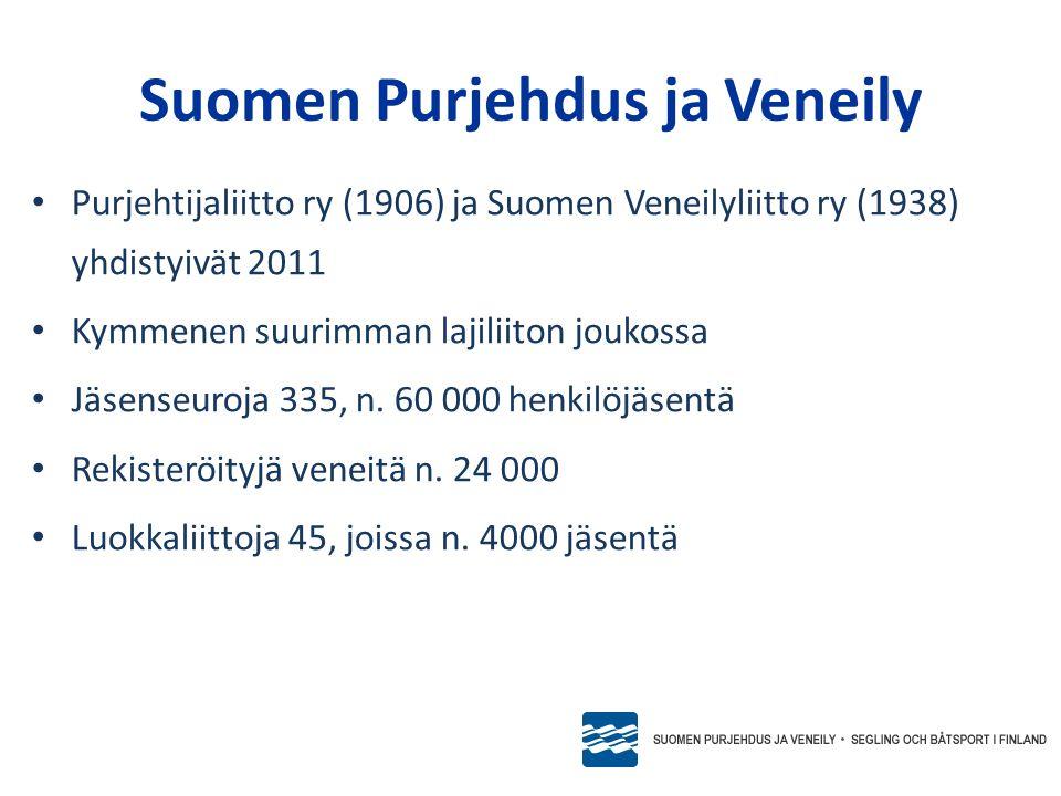 • Purjehtijaliitto ry (1906) ja Suomen Veneilyliitto ry (1938) yhdistyivät 2011 • Kymmenen suurimman lajiliiton joukossa • Jäsenseuroja 335, n.