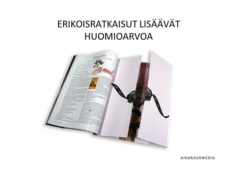 Lähde: tripod research oy/aikakauslehtikustantajien tietopankit, 2012 ERIKOISRATKAISUT LISÄÄVÄT HUOMIOARVOA
