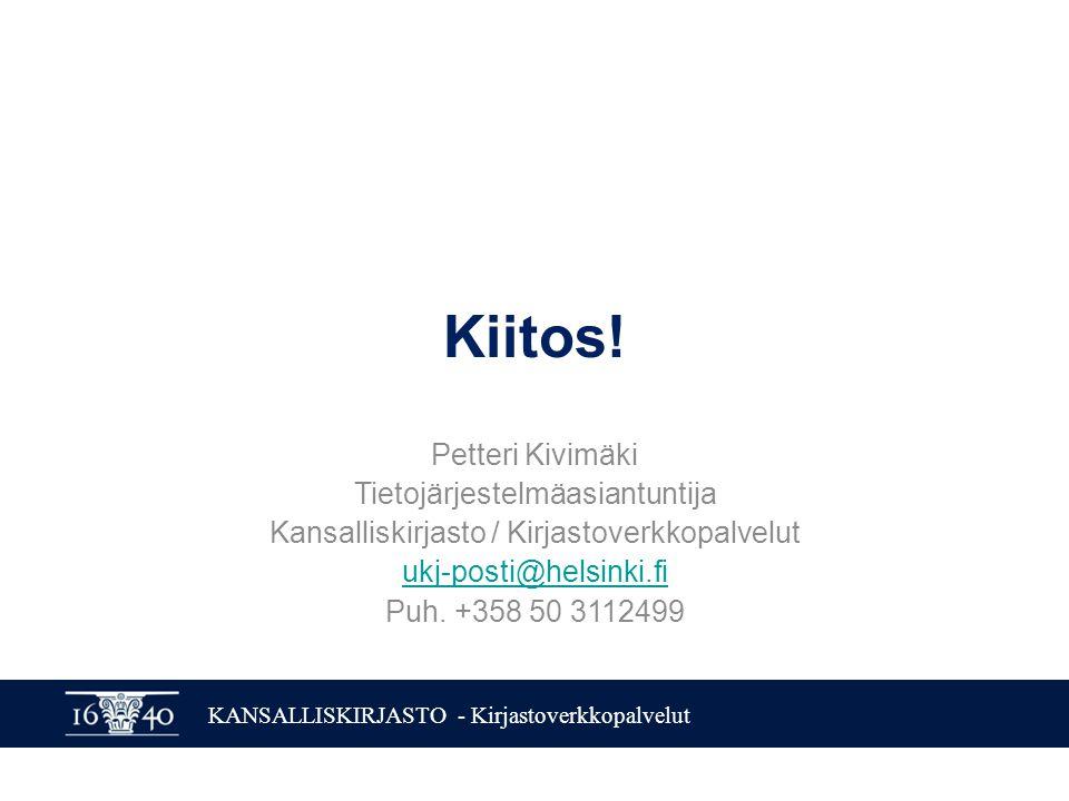 KANSALLISKIRJASTO - Kirjastoverkkopalvelut Kiitos.
