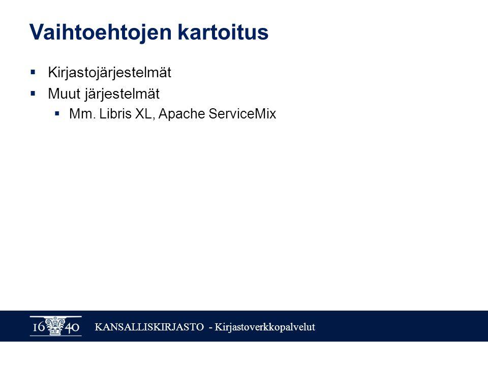 KANSALLISKIRJASTO - Kirjastoverkkopalvelut Vaihtoehtojen kartoitus  Kirjastojärjestelmät  Muut järjestelmät  Mm.