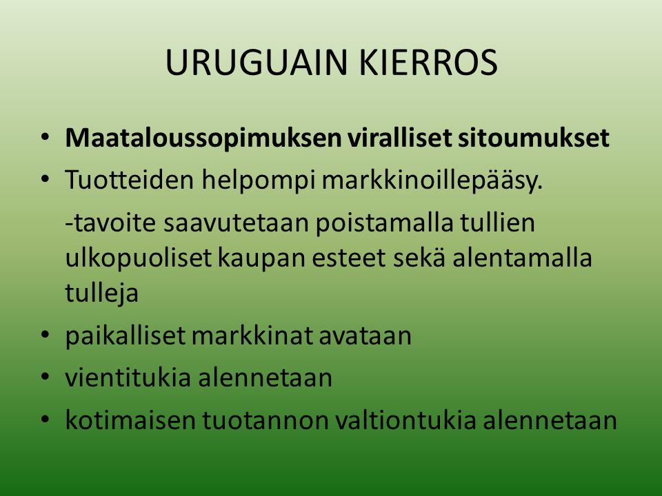 URUGUAIN KIERROS • Maataloussopimuksen viralliset sitoumukset • Tuotteiden helpompi markkinoillepääsy.