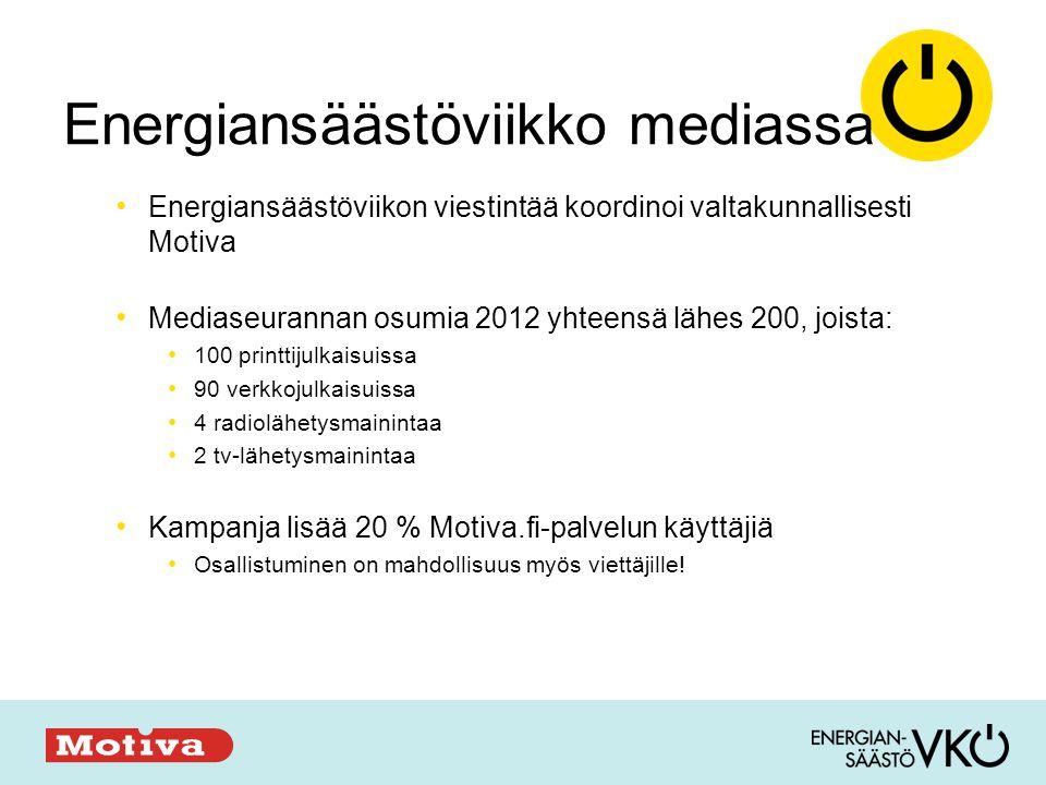 Energiansäästöviikko mediassa • Energiansäästöviikon viestintää koordinoi valtakunnallisesti Motiva • Mediaseurannan osumia 2012 yhteensä lähes 200, joista: • 100 printtijulkaisuissa • 90 verkkojulkaisuissa • 4 radiolähetysmainintaa • 2 tv-lähetysmainintaa • Kampanja lisää 20 % Motiva.fi-palvelun käyttäjiä • Osallistuminen on mahdollisuus myös viettäjille!