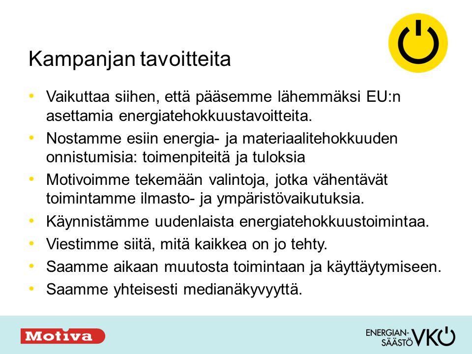 Kampanjan tavoitteita • Vaikuttaa siihen, että pääsemme lähemmäksi EU:n asettamia energiatehokkuustavoitteita.