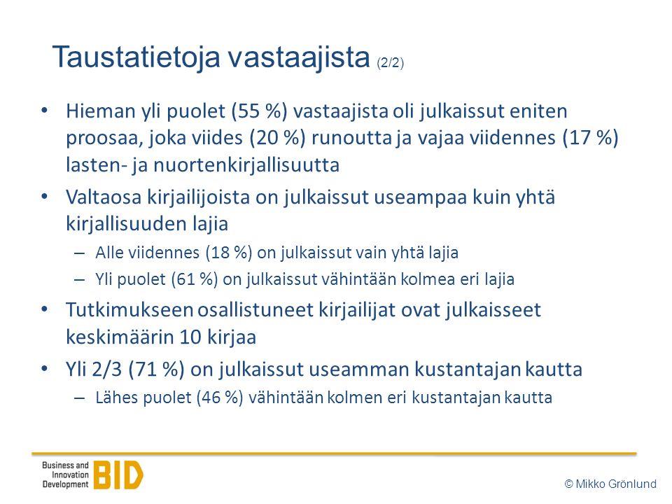 Taustatietoja vastaajista (2/2) © Mikko Grönlund • Hieman yli puolet (55 %) vastaajista oli julkaissut eniten proosaa, joka viides (20 %) runoutta ja vajaa viidennes (17 %) lasten- ja nuortenkirjallisuutta • Valtaosa kirjailijoista on julkaissut useampaa kuin yhtä kirjallisuuden lajia – Alle viidennes (18 %) on julkaissut vain yhtä lajia – Yli puolet (61 %) on julkaissut vähintään kolmea eri lajia • Tutkimukseen osallistuneet kirjailijat ovat julkaisseet keskimäärin 10 kirjaa • Yli 2/3 (71 %) on julkaissut useamman kustantajan kautta – Lähes puolet (46 %) vähintään kolmen eri kustantajan kautta