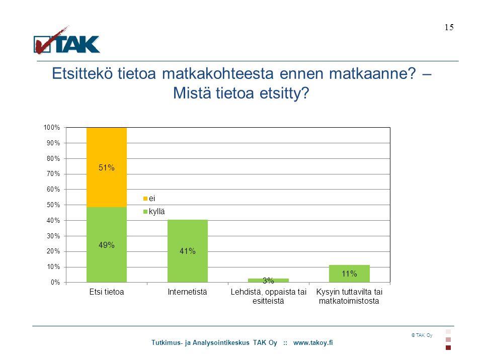 Tutkimus- ja Analysointikeskus TAK Oy :: www.takoy.fi © TAK Oy Etsittekö tietoa matkakohteesta ennen matkaanne.