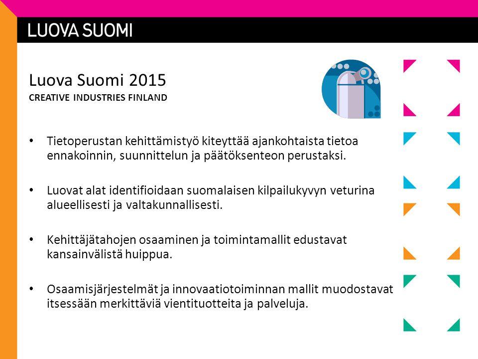 Luova Suomi 2015 CREATIVE INDUSTRIES FINLAND • Tietoperustan kehittämistyö kiteyttää ajankohtaista tietoa ennakoinnin, suunnittelun ja päätöksenteon perustaksi.