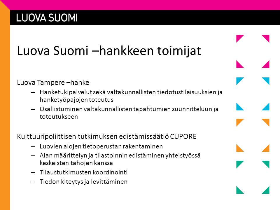Luova Suomi –hankkeen toimijat Luova Tampere –hanke – Hanketukipalvelut sekä valtakunnallisten tiedotustilaisuuksien ja hanketyöpajojen toteutus – Osallistuminen valtakunnallisten tapahtumien suunnitteluun ja toteutukseen Kulttuuripoliittisen tutkimuksen edistämissäätiö CUPORE – Luovien alojen tietoperustan rakentaminen – Alan määrittelyn ja tilastoinnin edistäminen yhteistyössä keskeisten tahojen kanssa – Tilaustutkimusten koordinointi – Tiedon kiteytys ja levittäminen