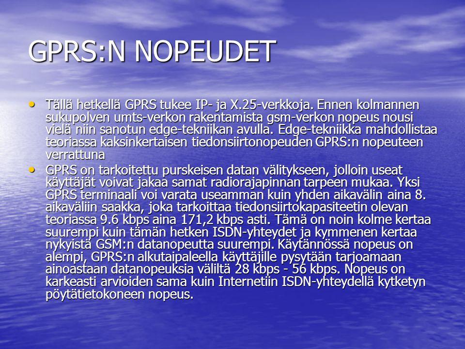 GPRS:N NOPEUDET • Tällä hetkellä GPRS tukee IP- ja X.25-verkkoja.