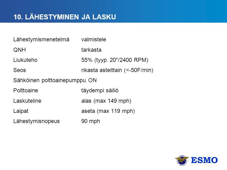ESMO 10. LÄHESTYMINEN JA LASKU Lähestymismenetelmävalmistele QNHtarkasta Liukuteho 55% (tyyp.
