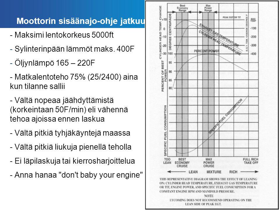ESMO Moottorin sisäänajo-ohje jatkuu - Maksimi lentokorkeus 5000ft - Sylinterinpään lämmöt maks.