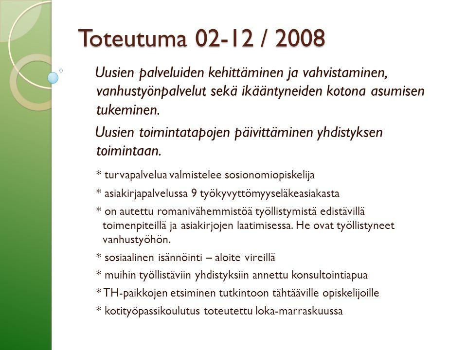 Toteutuma 02-12 / 2008 Uusien palveluiden kehittäminen ja vahvistaminen, vanhustyönpalvelut sekä ikääntyneiden kotona asumisen tukeminen.