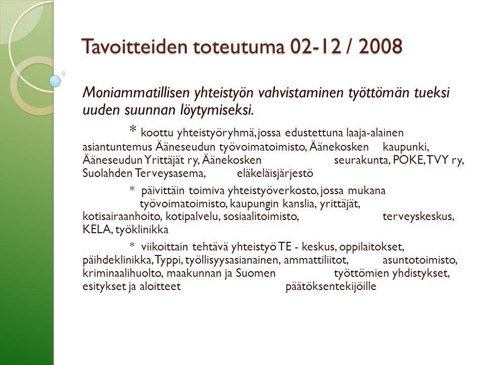 Tavoitteiden toteutuma 02-12 / 2008 Moniammatillisen yhteistyön vahvistaminen työttömän tueksi uuden suunnan löytymiseksi.
