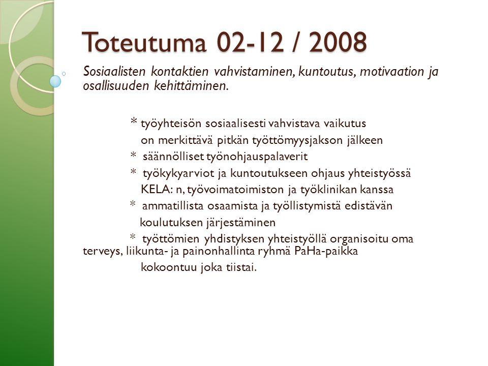 Toteutuma 02-12 / 2008 Sosiaalisten kontaktien vahvistaminen, kuntoutus, motivaation ja osallisuuden kehittäminen.