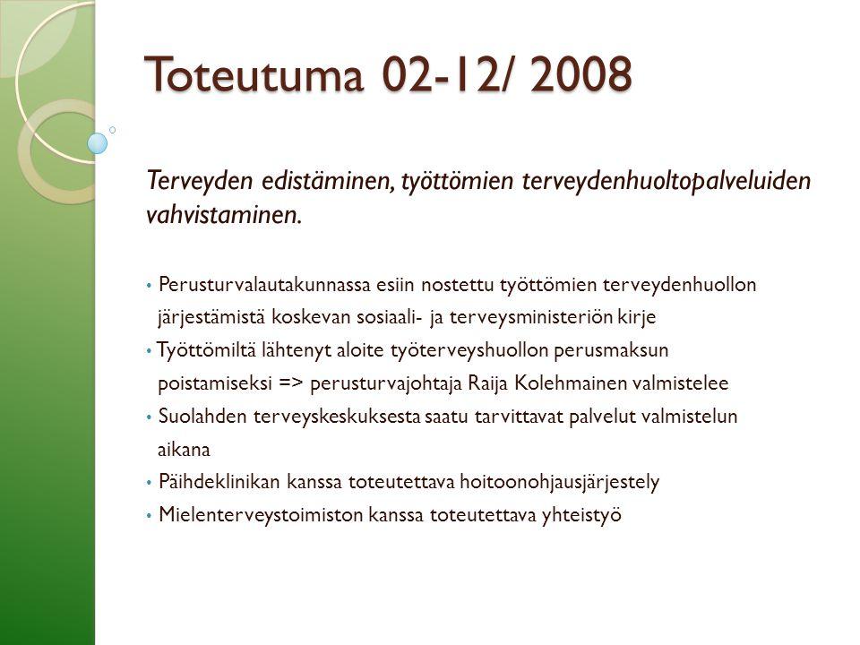 Toteutuma 02-12/ 2008 Terveyden edistäminen, työttömien terveydenhuoltopalveluiden vahvistaminen.