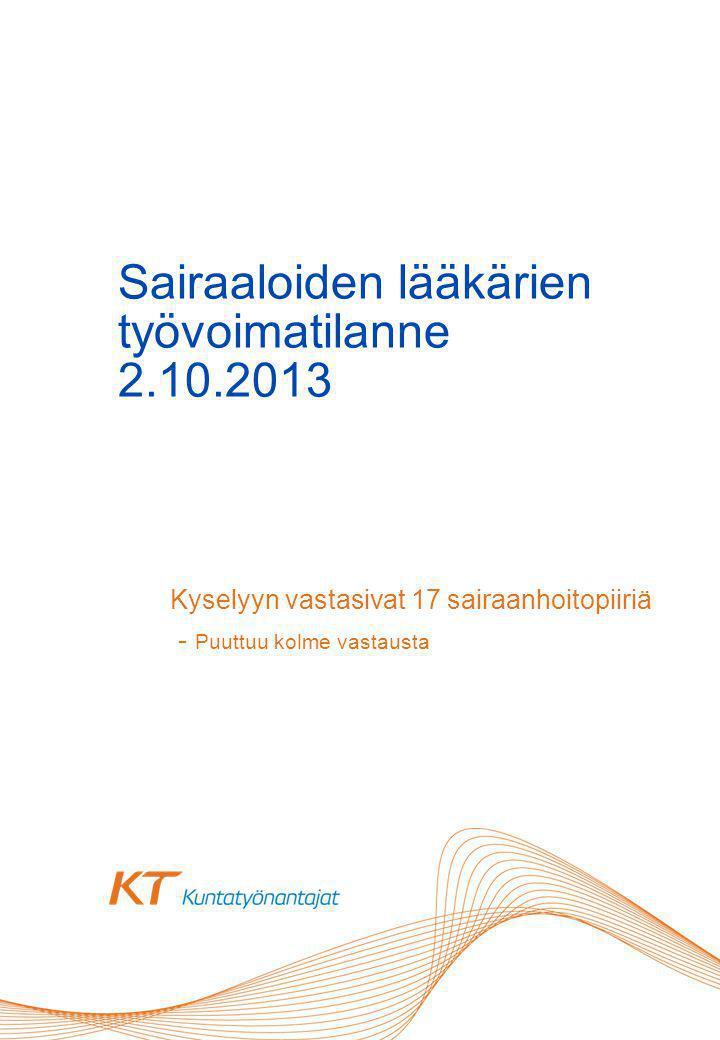 Sairaaloiden lääkärien työvoimatilanne 2.10.2013 Kyselyyn vastasivat 17 sairaanhoitopiiriä - Puuttuu kolme vastausta