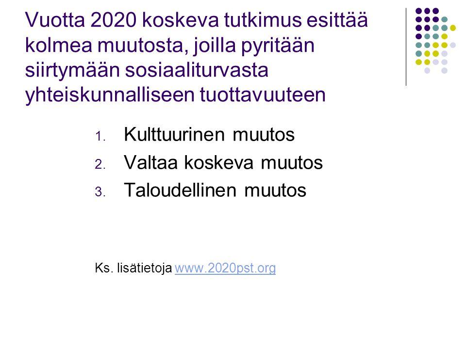 Vuotta 2020 koskeva tutkimus esittää kolmea muutosta, joilla pyritään siirtymään sosiaaliturvasta yhteiskunnalliseen tuottavuuteen 1.