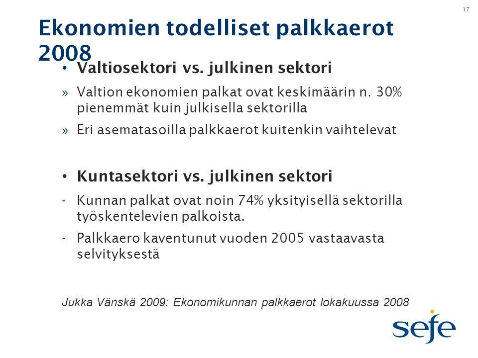 17 Ekonomien todelliset palkkaerot 2008 • Valtiosektori vs.