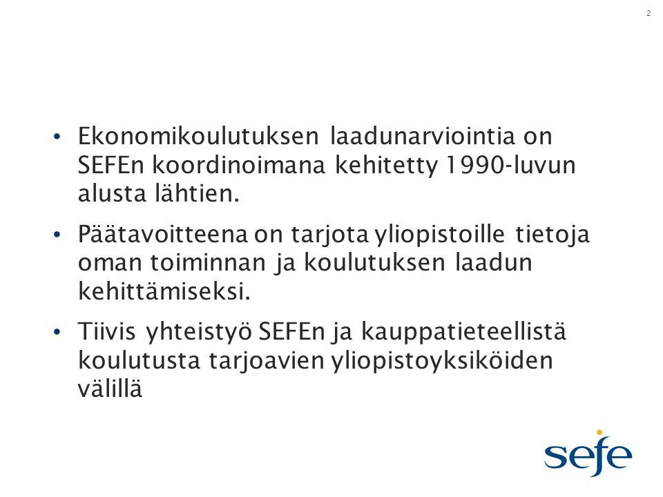 2 • Ekonomikoulutuksen laadunarviointia on SEFEn koordinoimana kehitetty 1990-luvun alusta lähtien.