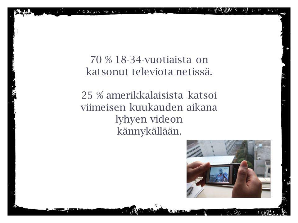 70 % 18-34-vuotiaista on katsonut televiota netissä.