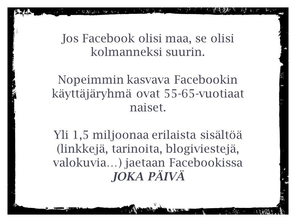 Jos Facebook olisi maa, se olisi kolmanneksi suurin.