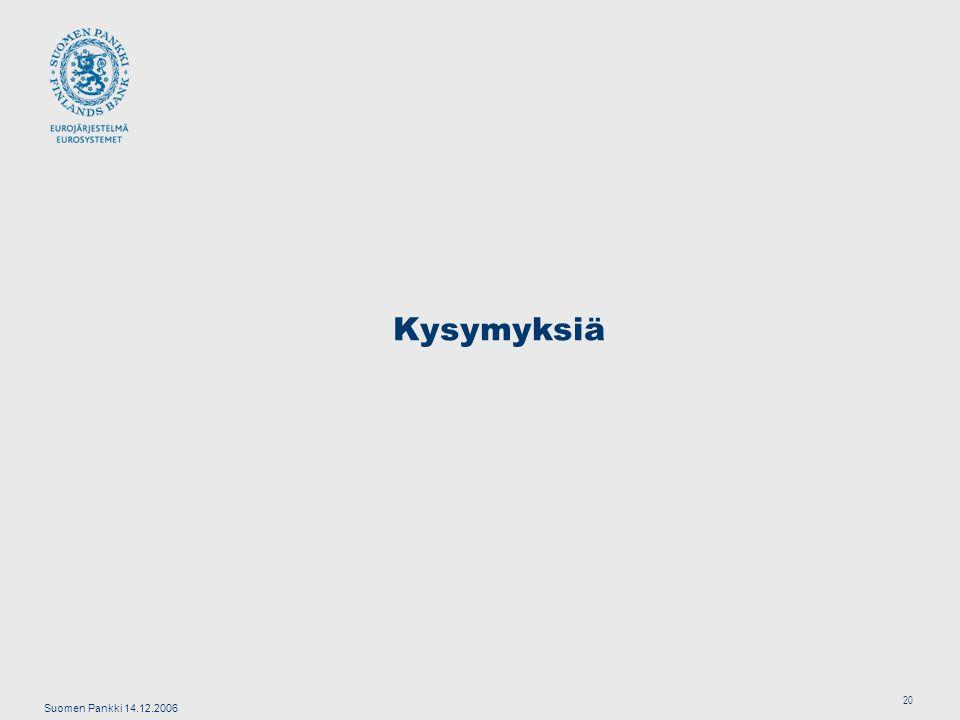 Suomen Pankki 14.12.2006 20 Kysymyksiä