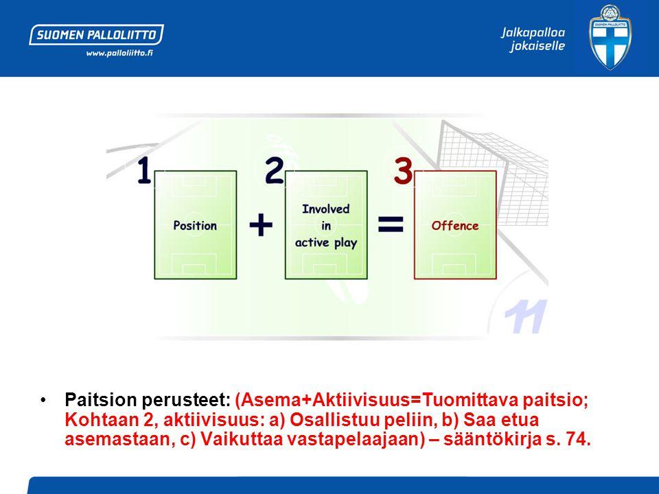 •Paitsion perusteet: (Asema+Aktiivisuus=Tuomittava paitsio; Kohtaan 2, aktiivisuus: a) Osallistuu peliin, b) Saa etua asemastaan, c) Vaikuttaa vastapelaajaan) – sääntökirja s.