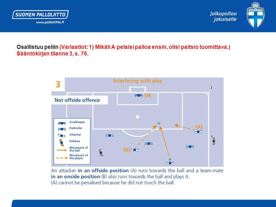 Osallistuu peliin (Variaatiot: 1) Mikäli A pelaisi palloa ensin, olisi paitsio tuomittava.) Sääntökirjan tilanne 3, s.