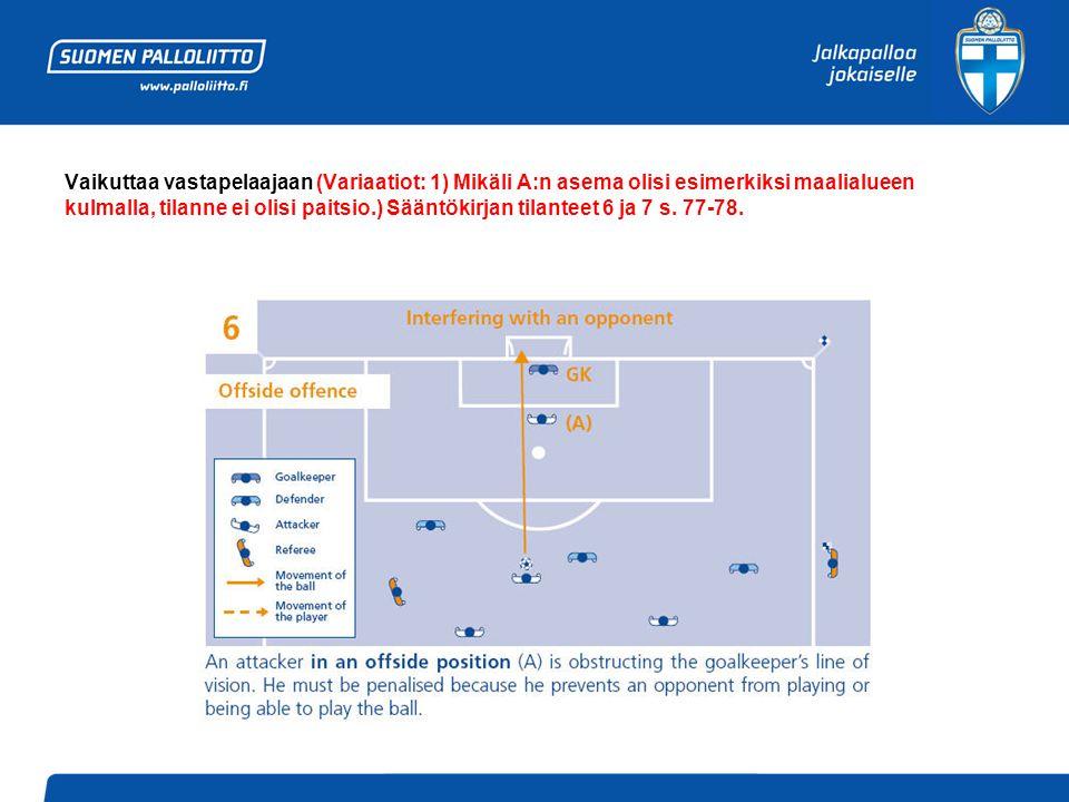 Vaikuttaa vastapelaajaan (Variaatiot: 1) Mikäli A:n asema olisi esimerkiksi maalialueen kulmalla, tilanne ei olisi paitsio.) Sääntökirjan tilanteet 6 ja 7 s.