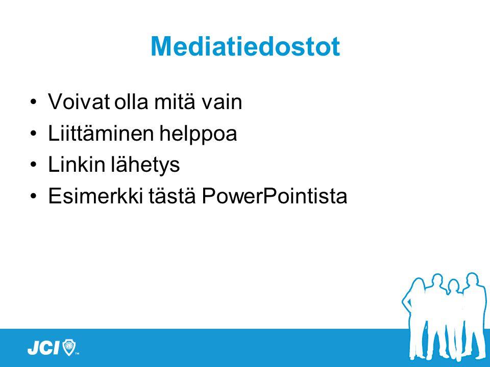 Mediatiedostot •Voivat olla mitä vain •Liittäminen helppoa •Linkin lähetys •Esimerkki tästä PowerPointista