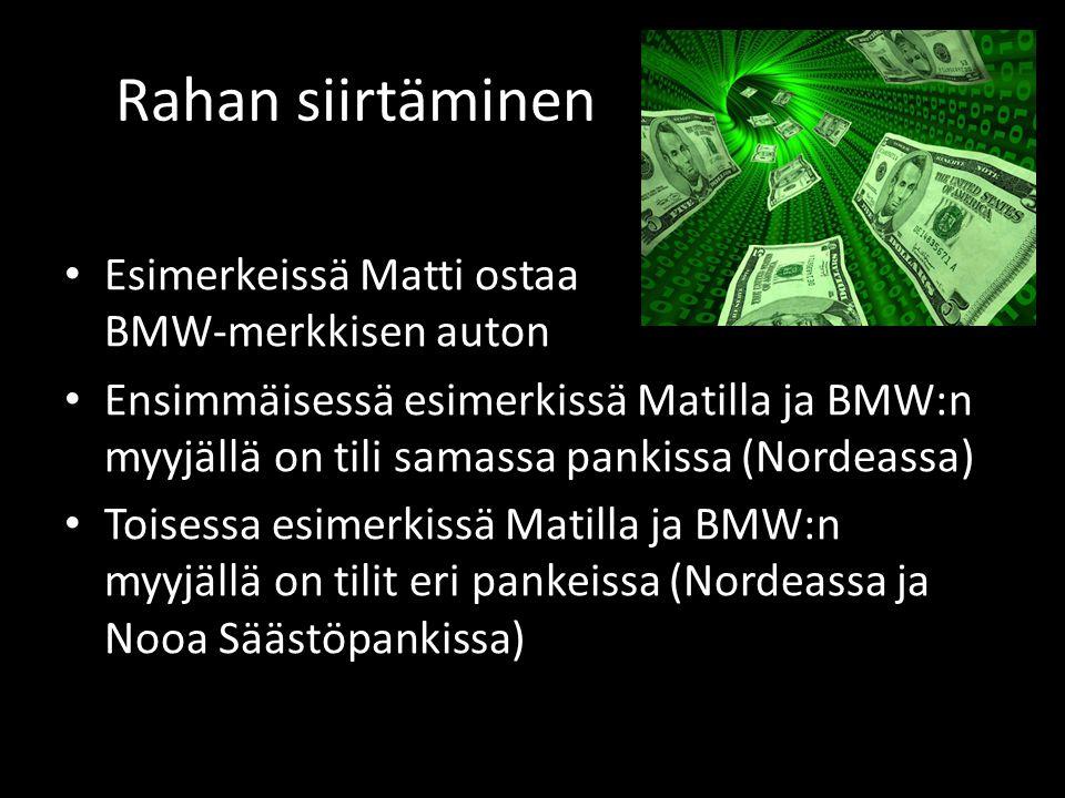 Rahan siirtäminen • Esimerkeissä Matti ostaa BMW-merkkisen auton • Ensimmäisessä esimerkissä Matilla ja BMW:n myyjällä on tili samassa pankissa (Nordeassa) • Toisessa esimerkissä Matilla ja BMW:n myyjällä on tilit eri pankeissa (Nordeassa ja Nooa Säästöpankissa)
