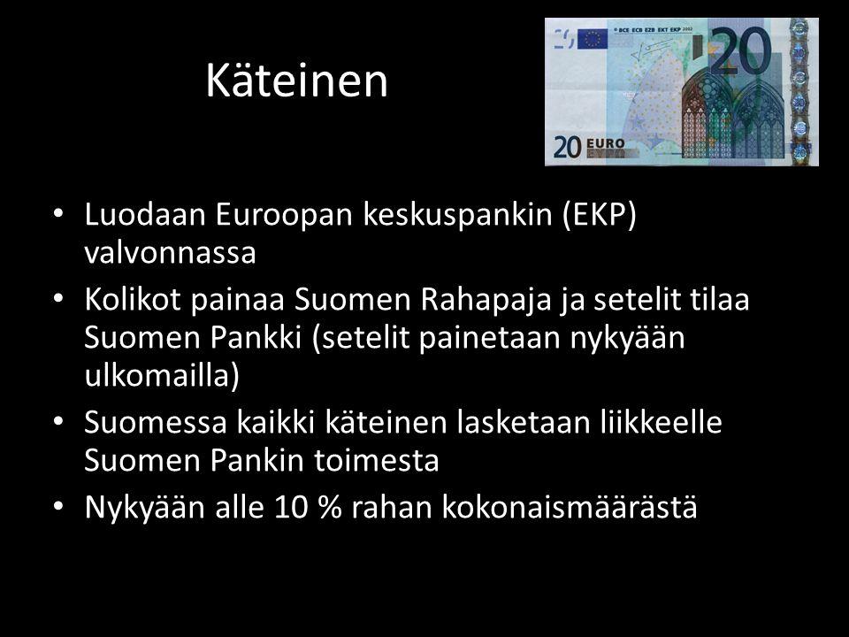 Käteinen • Luodaan Euroopan keskuspankin (EKP) valvonnassa • Kolikot painaa Suomen Rahapaja ja setelit tilaa Suomen Pankki (setelit painetaan nykyään ulkomailla) • Suomessa kaikki käteinen lasketaan liikkeelle Suomen Pankin toimesta • Nykyään alle 10 % rahan kokonaismäärästä