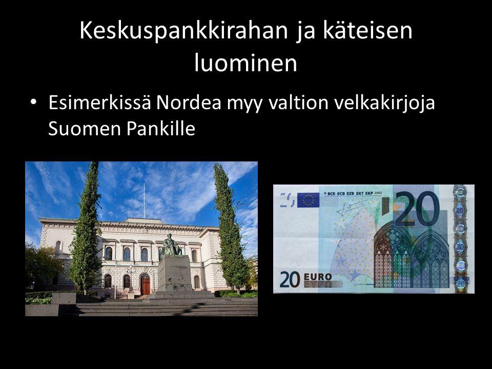 Keskuspankkirahan ja käteisen luominen • Esimerkissä Nordea myy valtion velkakirjoja Suomen Pankille