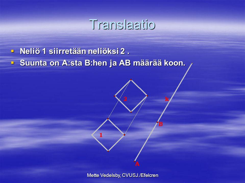 Mette Vedelsby, CVUSJ./Efelcren Translaatio  Neliö 1 siirretään neliöksi 2.
