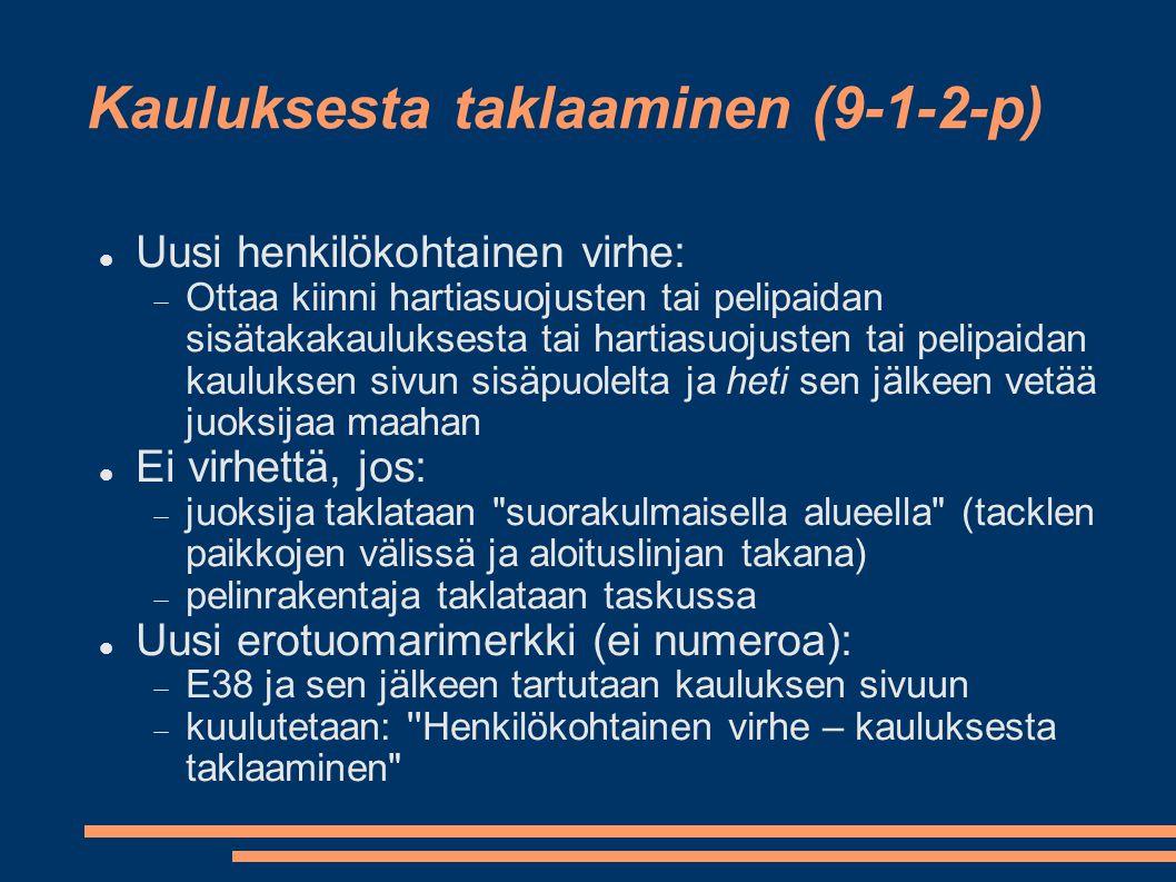 Kauluksesta taklaaminen (9-1-2-p)  Uusi henkilökohtainen virhe:  Ottaa kiinni hartiasuojusten tai pelipaidan sisätakakauluksesta tai hartiasuojusten tai pelipaidan kauluksen sivun sisäpuolelta ja heti sen jälkeen vetää juoksijaa maahan  Ei virhettä, jos:  juoksija taklataan suorakulmaisella alueella (tacklen paikkojen välissä ja aloituslinjan takana)  pelinrakentaja taklataan taskussa  Uusi erotuomarimerkki (ei numeroa):  E38 ja sen jälkeen tartutaan kauluksen sivuun  kuulutetaan: Henkilökohtainen virhe – kauluksesta taklaaminen