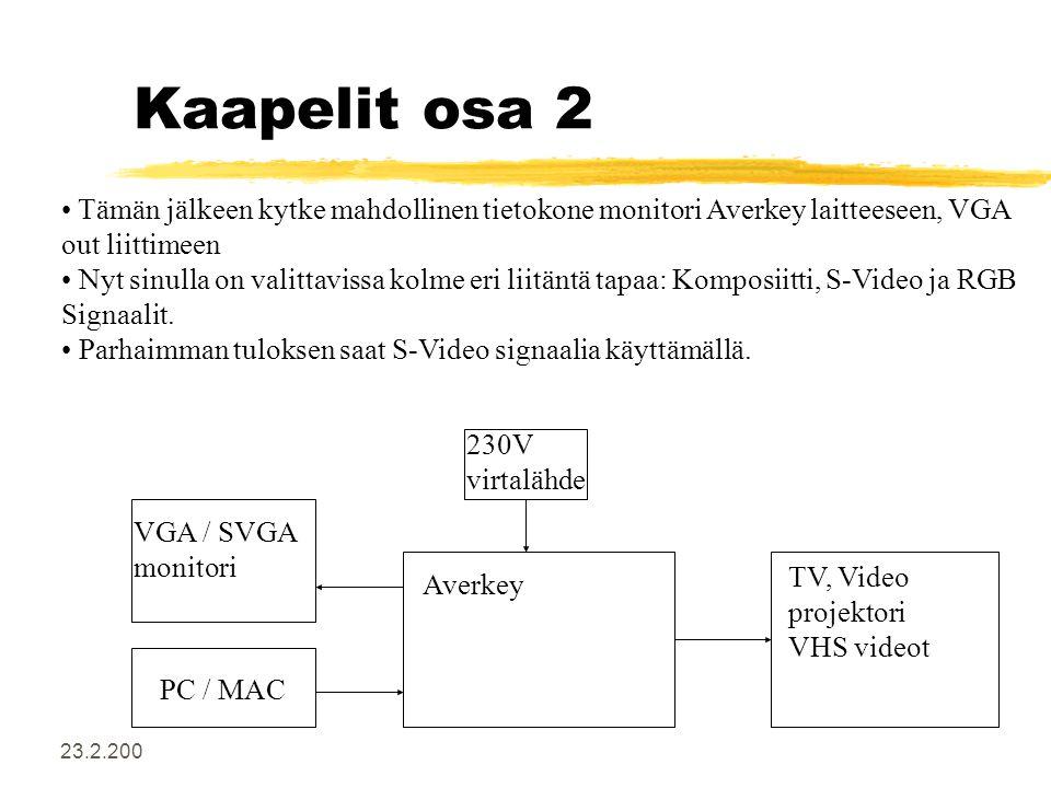 23.2.200 Kaapelit osa 2 • Tämän jälkeen kytke mahdollinen tietokone monitori Averkey laitteeseen, VGA out liittimeen • Nyt sinulla on valittavissa kolme eri liitäntä tapaa: Komposiitti, S-Video ja RGB Signaalit.