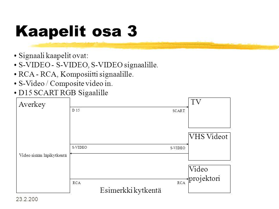 23.2.200 Kaapelit osa 3 • Signaali kaapelit ovat: • S-VIDEO - S-VIDEO, S-VIDEO signaalille.
