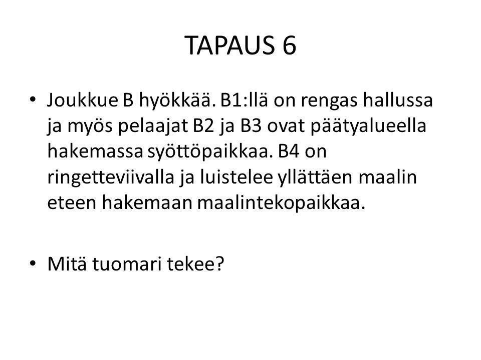 TAPAUS 6 • Joukkue B hyökkää.