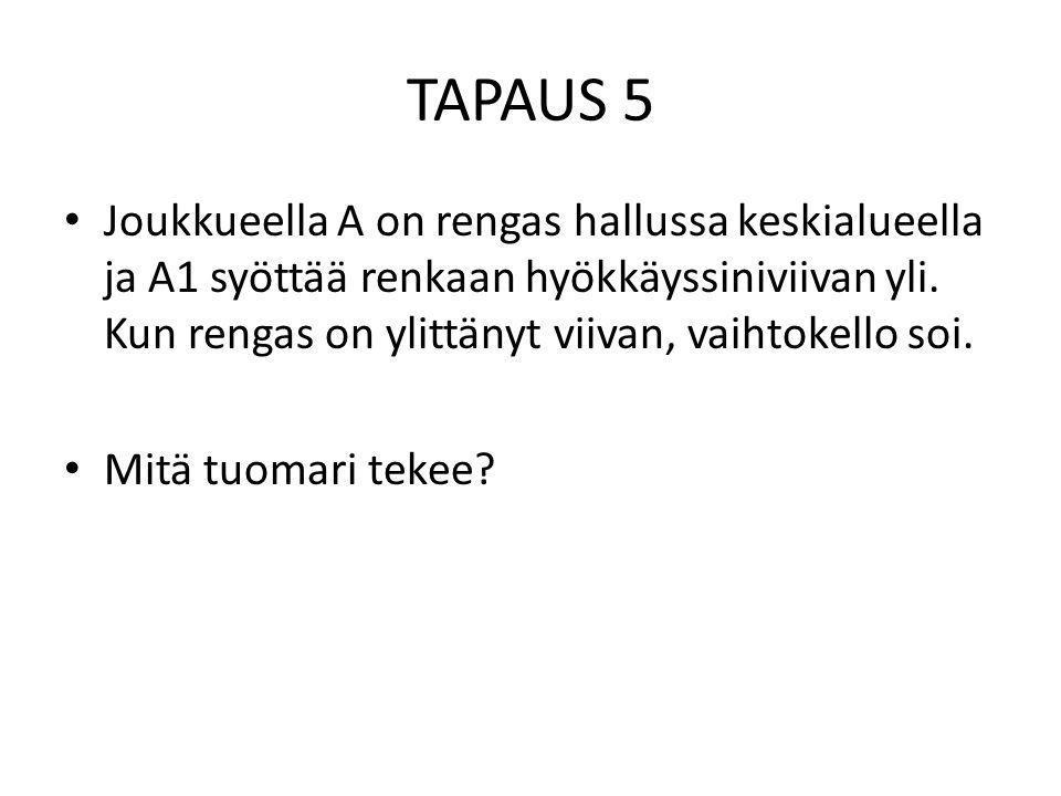 TAPAUS 5 • Joukkueella A on rengas hallussa keskialueella ja A1 syöttää renkaan hyökkäyssiniviivan yli.